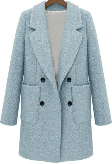Синее шерстяное пальто 3734 Cute!Cute!Cute!