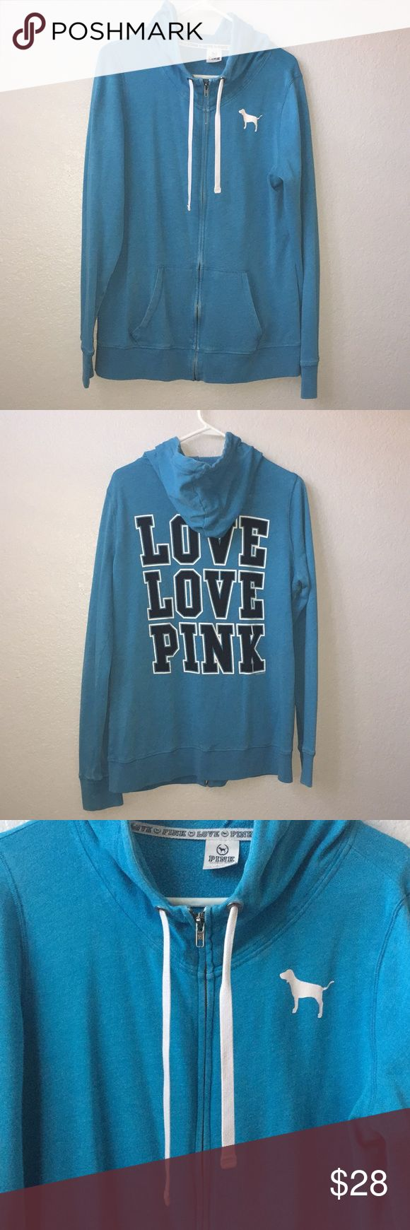VS PINK Teal Zip Up Hoodie Women's Large. Preowned and plenty of use left in this. Teal with Black/White Love Pink on back. PINK Victoria's Secret Tops Sweatshirts & Hoodies