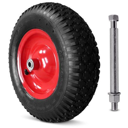 From 17.95 Wheelbarrow Wheel Tyre With Axle / 4.8 4 -8 400pr Tires Single Pneumatic Trolley Cart Replacement Wheel