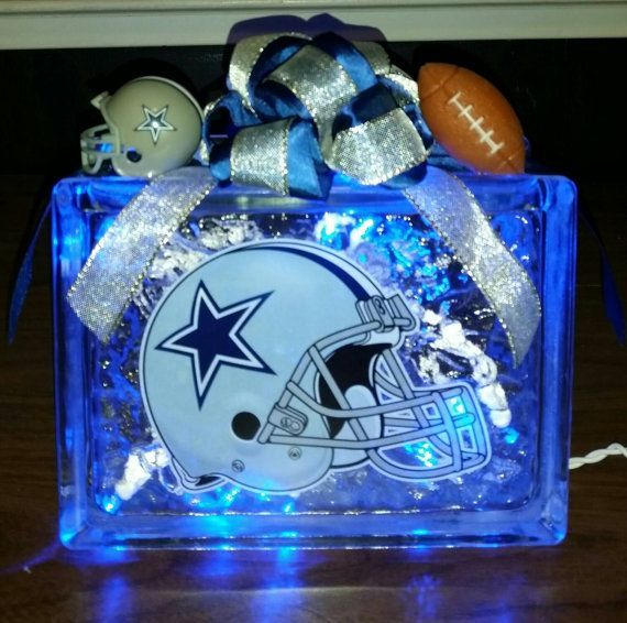 Dallas Cowboys Helmet Decal Lighted Glass Block Nightlight
