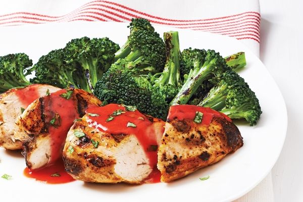 Strawberry-Basil Chicken With Grilled Broccoli