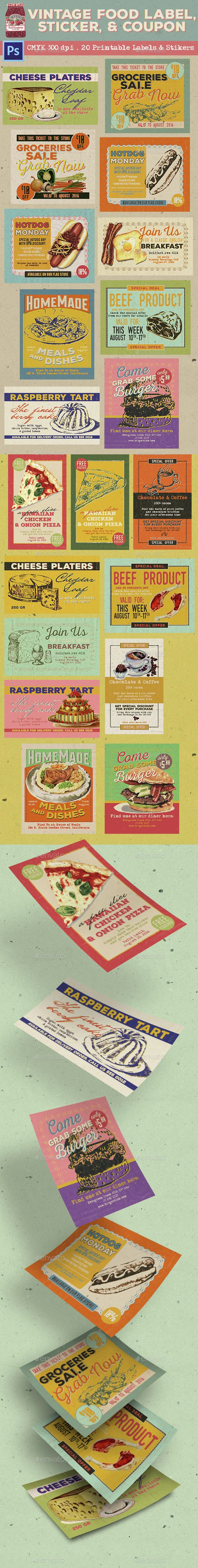 Vintage Food Labels, Stickers & Coupons - Loyalty Cards Cards & Invites