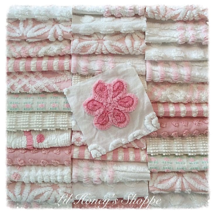 """Chenille fabric quilt squares 36-6"""" blocks, pink & white, vintage bedspread fabric by lilhoneysshoppe on Etsy"""