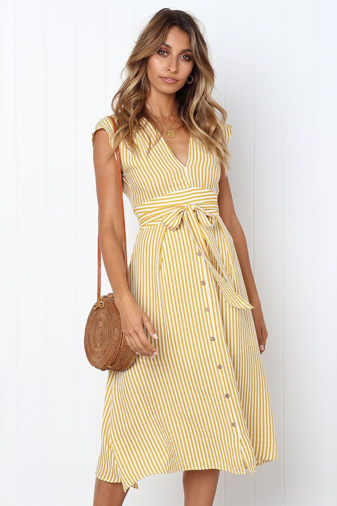 33fa22d8f2 Yellow Stripes, Party Dresses For Women, Casual Dresses For Women, Summer  Dresses,