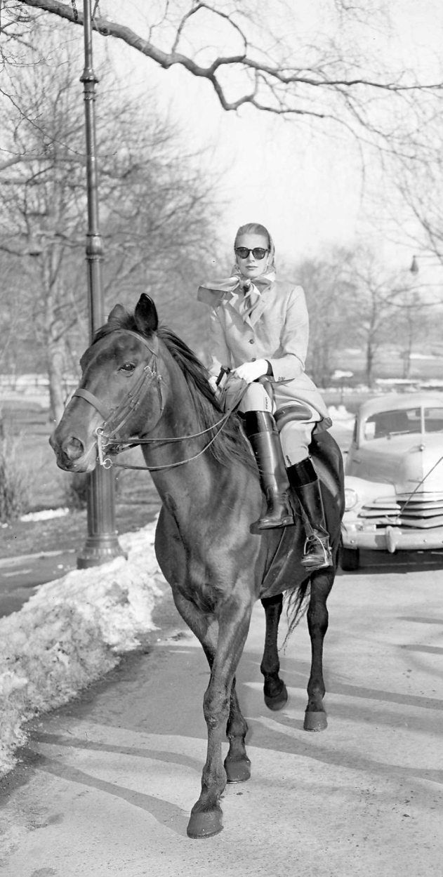 Grace Kelly rides in Central Park. Daisy, a 6-year-old, is her mount.