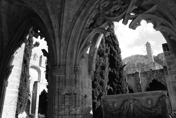 Courtyard view of Bellapais Monastery and Cypress trees - Kyrenia, Cyprus.