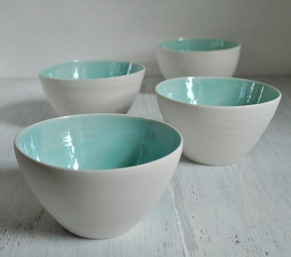 Pottery Bowls Aqua and White Porcelain Bowl Set of Four