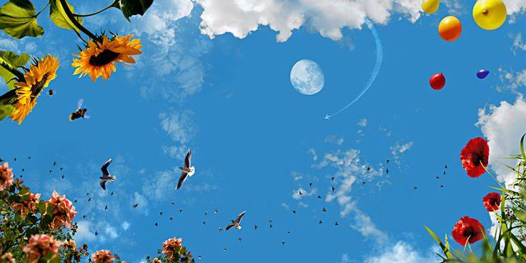 Wolkenplafond fotodesign: Ballon naar de maan'