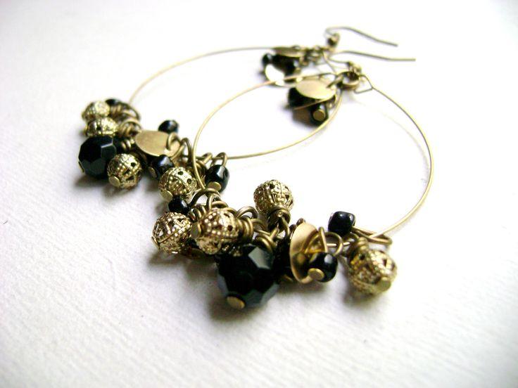 Bohemian style  indie chic gypsi stile black golden earrings - Glint - Black and golden dangle long earring by DivinaLocura on Etsy https://www.etsy.com/listing/196745898/bohemian-style-indie-chic-gypsi-stile