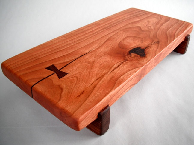 RECLAIMED beautiful CHERRY raised serving/cutting board eco hardwoods. $45.00, via Etsy.