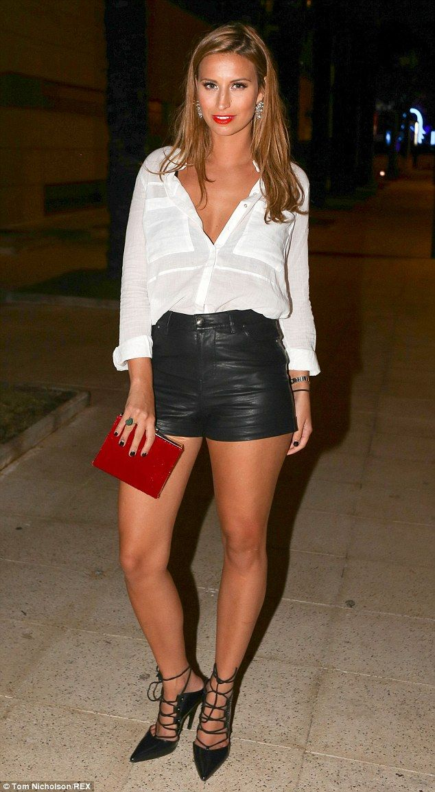Ferne McCann flashes some serious flesh in leather shorts in Ibiza #dailymail