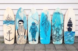 Nautical paintings on Retro Skateboard cutouts $590 each (all sold)