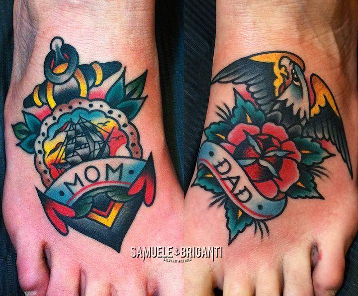 Samuele Briganti Anchor Mom / Dad Tattoo Old School