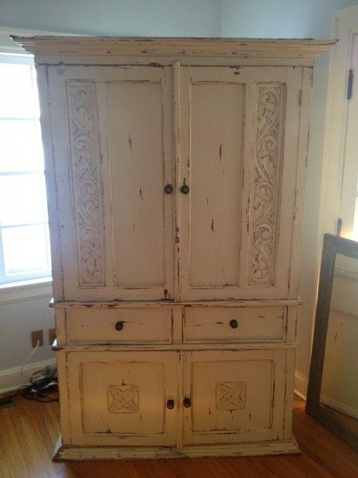 FOR SALE: Steph's Cream Distressed Armoire | Covet Living #columbus