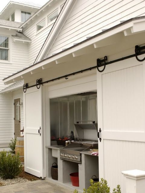 sliding door to grill on back of garage wall
