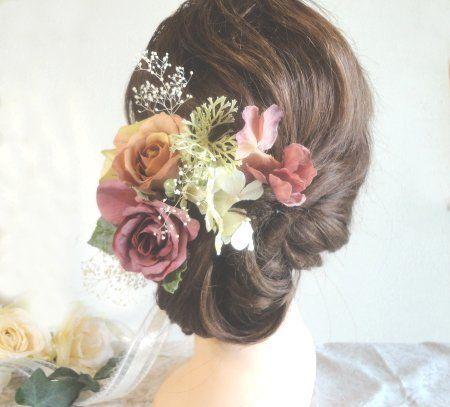 一点物・再販無・アンティークカラーのオトナのヘッドドレス~プリザーブドカスミソウ付き~20