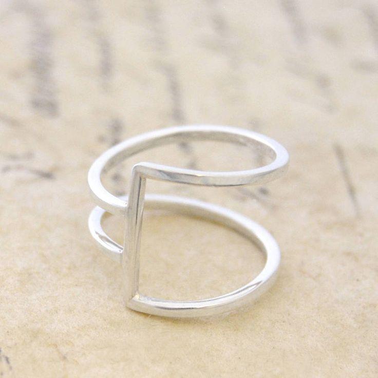 geometric silver square wire ring || otis jaxon silver jewellery | notonthehighstreet.com