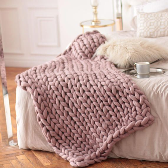 Knit Blanket Chunky Knit Blanket Pink Throw Blanket Big Etsy Pink Throw Blanket Living Room Decor Cozy Cozy Throw Blanket