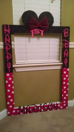 Photo Booth Frame Happy 1st Birthday Minnie Mouse Ears