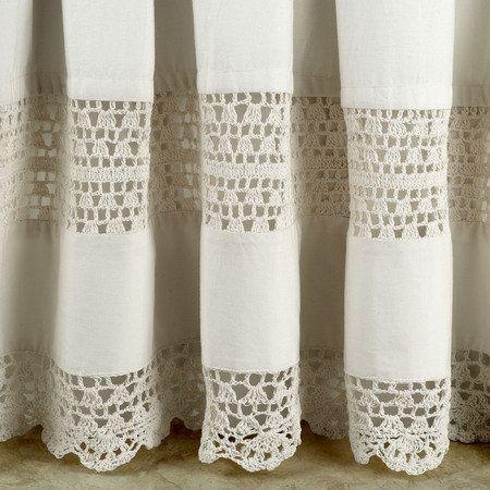 rideau vintage crochet vintage intercall e dans du tissu blanc ecru je kiff l 39 id e a