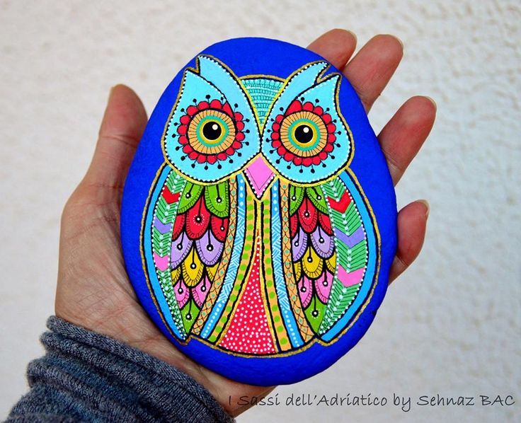 I think this is the biggest #owl .i made untill now I love its cobalt color  https://www.facebook.com/ISassiDelladriatico #paintedstones