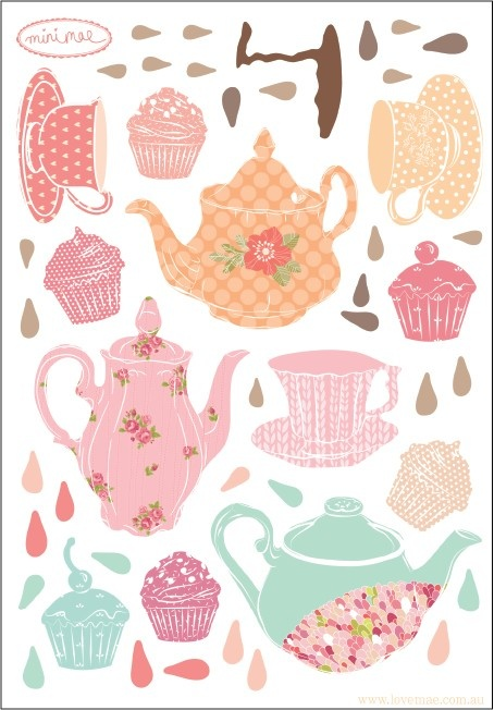 Wall Decals Mini Tea Party (Reusable and removable fabric stickers, not vinyl) - MINI Teatime $18.00
