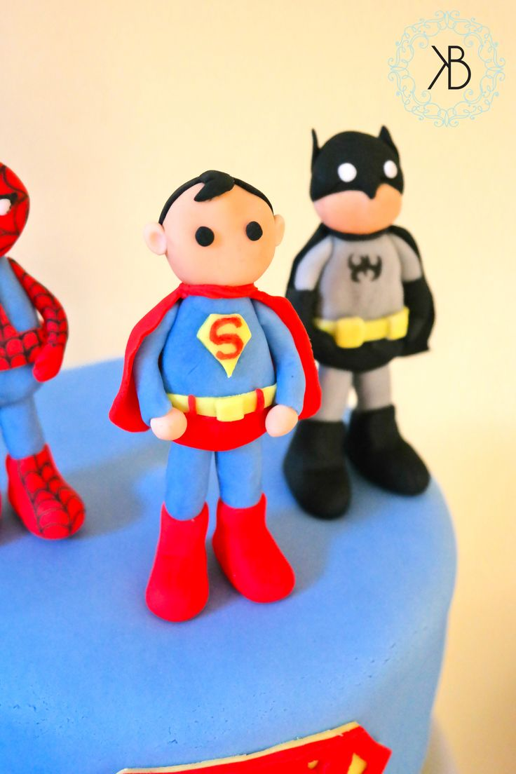 Close up of my superhero fondant characters - all edible!