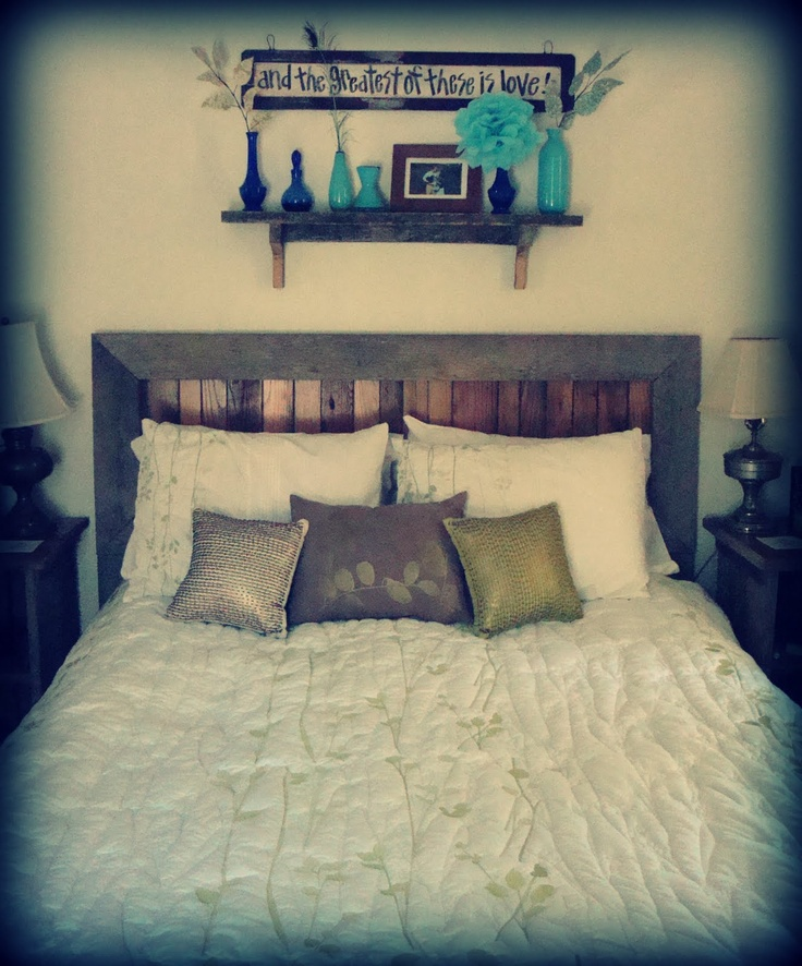 Pallets and barn boards torn apart, used as casual and slightly rustic bedroom feel.