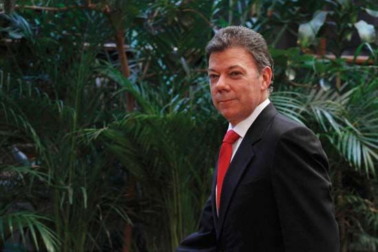 Colombian politician who cofounded (2005) the Social Party of National Unity (Partido Social de Unidad Nacional, or Partido de la U) and who later served as president of Colombia (2010–). Santos was born...