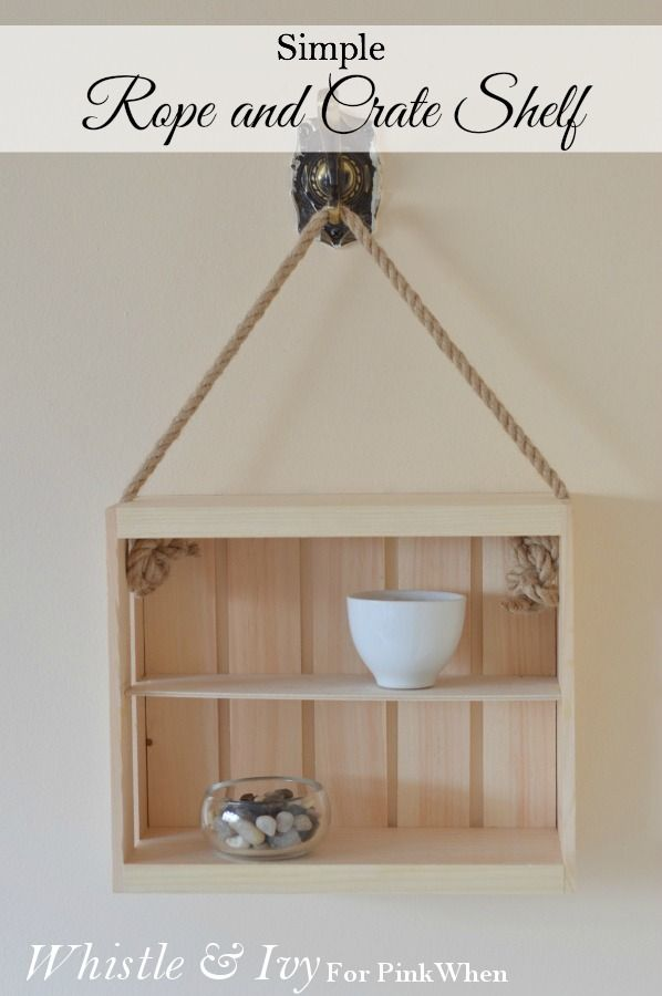 Make these cute rope and crate shelf with a few supplies and little bit of time! {Whistle and Ivy}