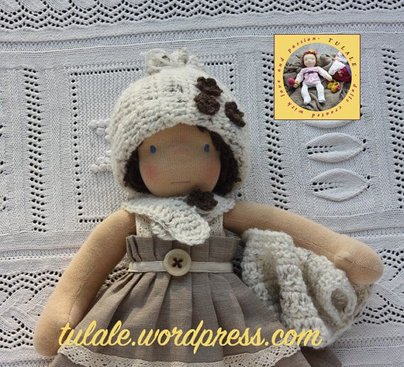 OOAK  Waldorf doll clothes: cap and scarf fastened on the
