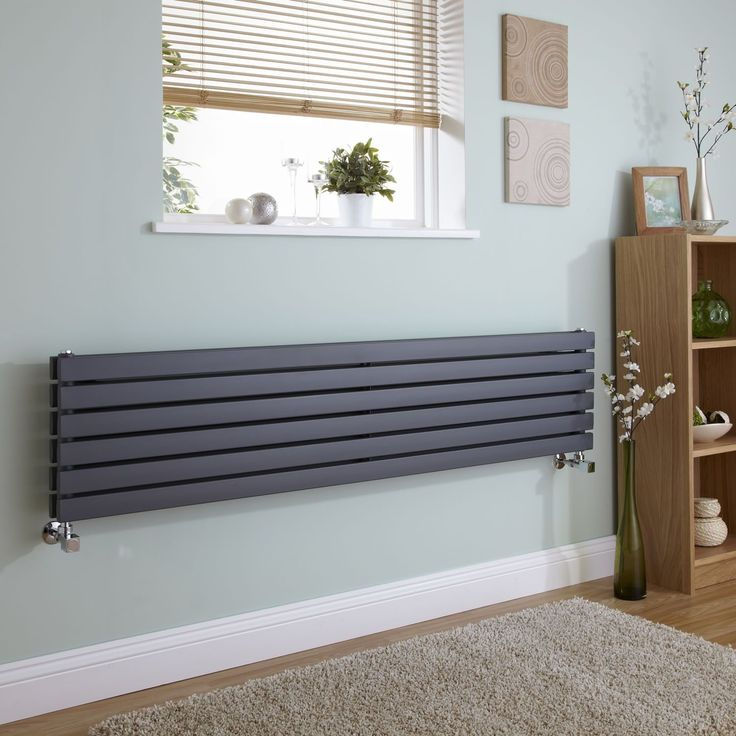 Milano Capri - Anthracite Flat Horizontal Designer Radiator 354mm x 1600mm (Double Panel) - Anthracite Designer Radiators - Designer Radiators - Radiators