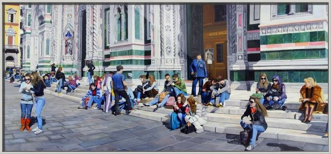 """""""Sitting on the Steps of the Duomo"""" by Matthew Bates, Firenze, Italy // Oil on Stretched Canvas - 175cm x 80cm - ©2009, Matthew BatesWhen you buy this or any other of my Imagekind(TM) prints, send them to me and I will personally sign the print and send you back the print and a certificate of authentication which will increase the value of the ... // Imagekind.com -- Buy stunning fine art prints, framed prints and canvas prints directly from independent working artists and photographers."""