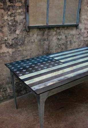 USA Steel inlay Table.