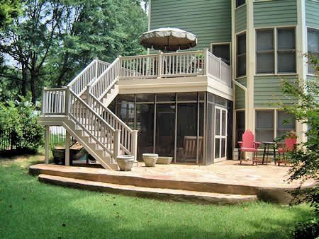 Deck design with screen porch below | Deck & screened under deck.