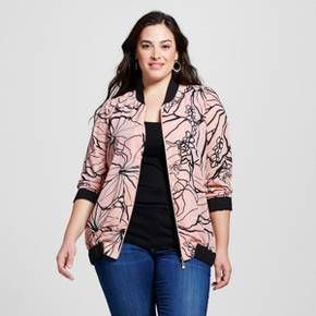 Women's Plus Size Floral Bomber Jacket Pink - Notations : Target