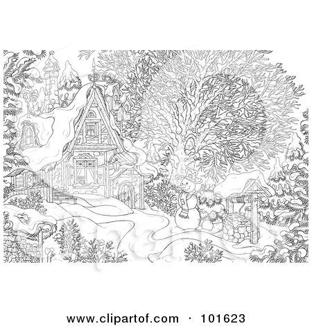 royalty free rf clipart illustration of a coloring page outline of a winter snowman near a cottage by alex bannykh