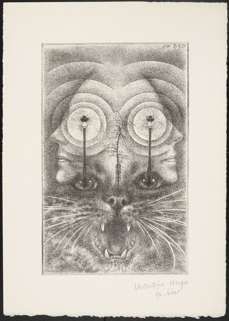 """Valentine Hugo. Trial proof for rejected plate and 2 folios of text from Les Animaux et Leurs Hommes, Les Hommes et Leurs Animaux. (1937). Paul Éluard. 1 drypoint. plate  9 3/16 x 5 13/16"""" (23.4 x 14.8 cm). irreg. page  12 1/2 x 8 7/8"""" (31 x 22.5 cm). Gift of Mrs. Alfred H. Barr, Jr.. 470.1986. © 2017 Valentine Hugo / Artists Rights Society (ARS), New York / ADAGP, Paris. Drawings and Prints"""
