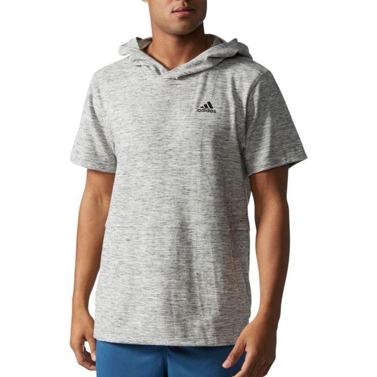 adidas Men's Essentials Heathered Pique Short Sleeve Hoodie, Size: Medium, Gray