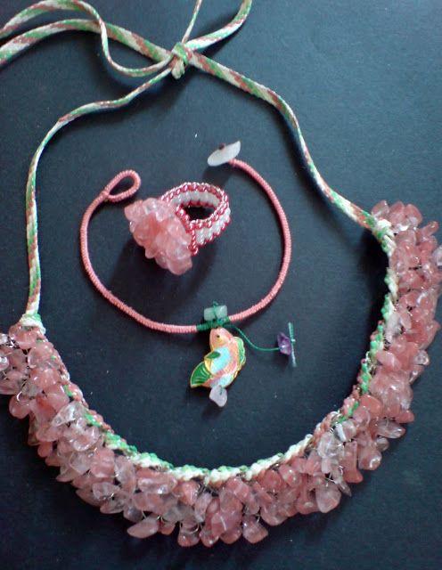 Wire crochet with semi precious stones