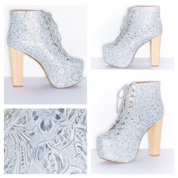 """Jeffrey Campbell """"Cold Feet"""" Silver Embossed Litas"""
