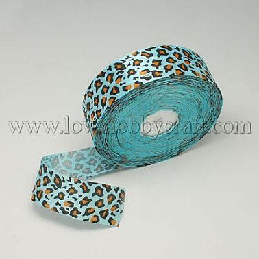 satin ribbon, leopard,