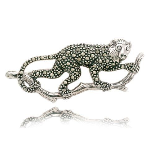 Sterling Silver Marcasite Capuchin Monkey Pin Amazon Curated Collection. Save 75 Off!. $99.00. Marcasite can appear iridescent in the light.