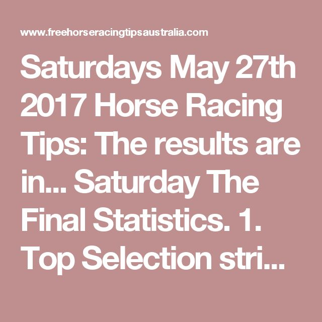 Saturdays May 27th 2017 Horse Racing Tips:  The results are in...  Saturday The Final Statistics.  1. Top Selection strike rate at 30% out of 101 races.  2. Top 2 Selections strike rate at 48% out of 101 races.  3. Exacta strike rate at 39% out of 101 races.  + Best Top Selection win dividend: $5.20  + Best tipped Exacta dividend: $104.50  + Best Trifecta dividend: $149.00  + Best First 4 dividend: $655.00  + Best Quadrella dividend: $6153.80