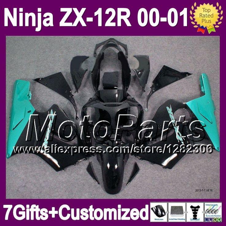 Голубой черный 7 подарки для KAWASAKI ZX12R ниндзя ZX-12R 00 01 2 * 3131 ZX 12R 00 - 01 ZX 12 R 2000 ZX12 R 2001 зализа голубой черный