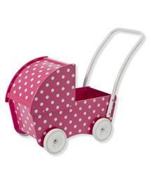 Deze poppenwagen met een leuk roze met witte stippen dessin is geschikt voor ...