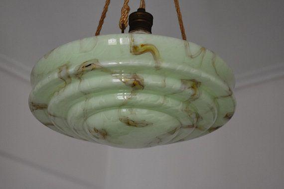 A unique Art Deco marbled opaline pendant lamp 30 cm France