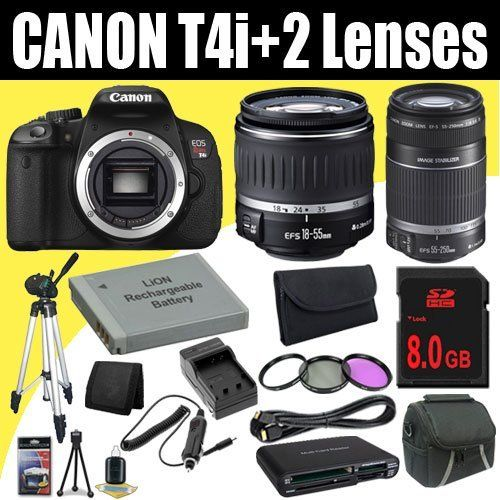 Canon EOS Rebel T4i 18 MP CMOS Digital SLR Camera w/EF-S 18-55mm f/3.5-5.6 IS Lens + EF-S 55-250mm f/4.0-5.6 IS Telephoto Zoom Lens + LP-E8 Replacement Lithium Ion Battery w/External Rapid Charger + 8GB SDHC Class 10 Memory Card + 58mm 3 Piece Filter Kit + Mini HDMI Cable + Carrying Case + Full Size Tripod + Multi Card USB Reader + Memory Card Wallet + Deluxe Starter Kit DavisMAX Bund.... $916.04. This DavisMAX Bundle Includes: 1- Canon EOS Rebel T4i 18 MP CMOS Digital S...