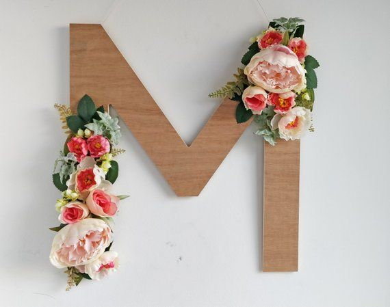Floral Letter M Wooden Initial Monogram Wall Hanging Decor Wall Art Nursery Wedding Bohemian Shabby C Monogram Wall Hangings Wooden Initials Floral Letters