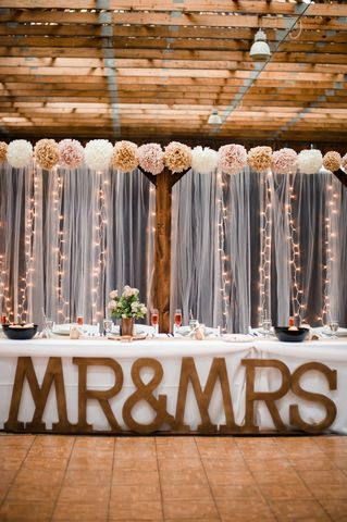 Talk about a statement piece! These giant wooden letters look amazing in front of the head table at this wedding reception.